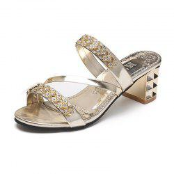 Women Summer Fashion Rhinestone Thick Heel  Slippers -