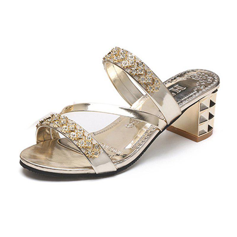 Store Women Summer Fashion Rhinestone Thick Heel  Slippers