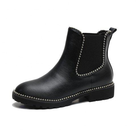 Metal Beads Trim PU Ankle Boots - Black 41 sale low cost choice sale online yGCuBW