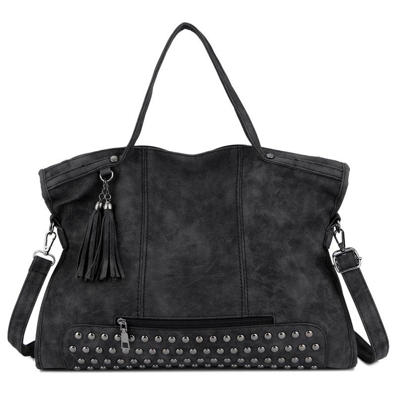 Chic Scrub Rivets Portable Motorcycle Shoulder Bag