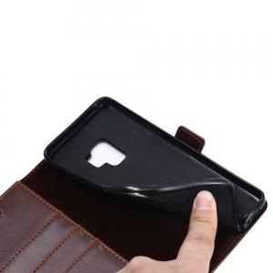 Double Folding Crazing Horse Texture Leather Case Cover for Samsung Galaxy S9 -