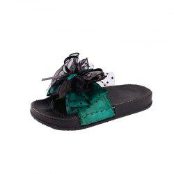 Fashion Wear All-match Bow Thick Soled Slippers Word -