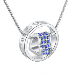 Crystal Heart and Ring Pendant Necklace -