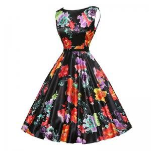 Vintage Flower Print Dress for Women -