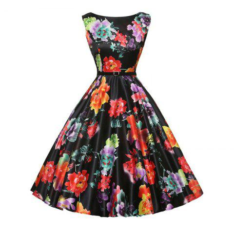 Discount Vintage Flower Print Dress for Women