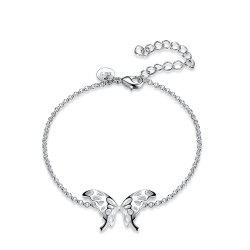 Fashion Adjustable Butterfly Alloy Chain Bracelet Charm Jewelry -