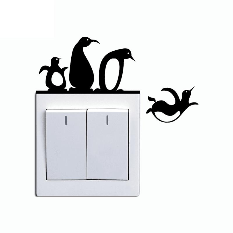 Penguins Switch Sticker Cartoon Pegatina Wall Stickers for Kids Room Home Decor 260415601