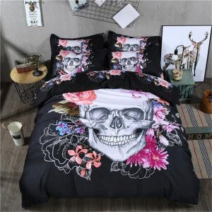 3D Skull Pattern Bedding Set Flower Bed Luxury House -