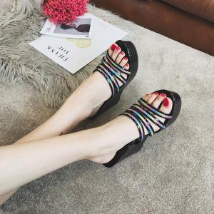 Large Base Hollow Wedge Fish Mouth Fashion Antiskid Cool Slippers -