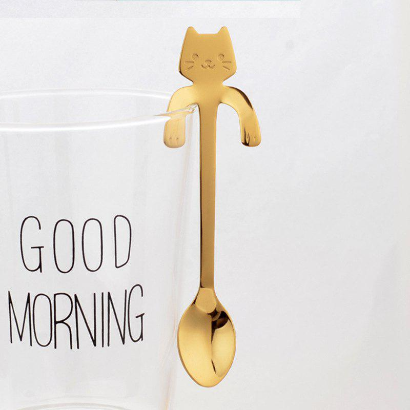 Sale Fashion Piece Cute Cat Spoon Long Handle Spoons Flatware Drinking Tools Kitchen