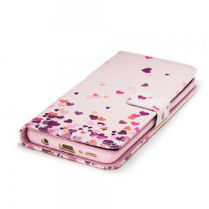 Filp Case for Samsung Galaxy S9 Pink Hearts Pattern Wallet Stand Cover -