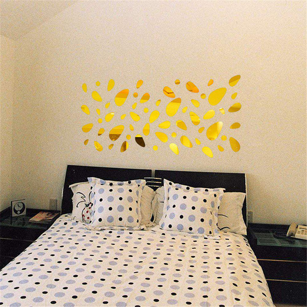 Gold 12pcs Wall Stickers 3d Pebble Shape Mirror Vinyl Removable ...