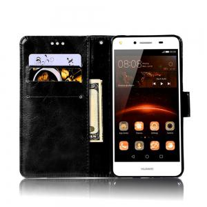 Luxurious Retro Fashion Flip Leather Case PU Wallet Cover Cases For Huawei Y5 2017 Smart Cover Phone Bag with Stand -