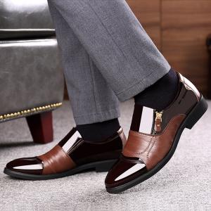 Men Color Blocking Side Zipper Pointed Toe Formal Dress Shoes -
