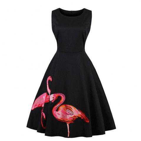 Outfit Flamingos The Embroidery Sleeveless Vintage Dress
