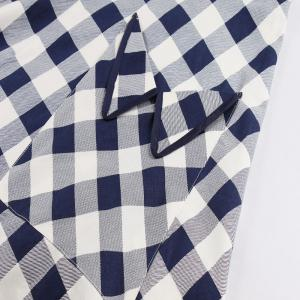 Plaid Lapel With Short Sleeves Vintage Dress -