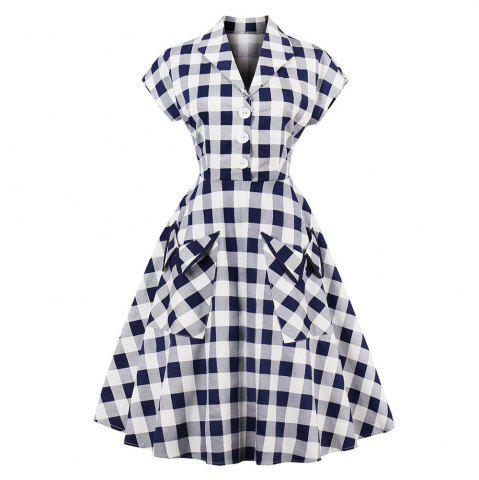 New Plaid Lapel With Short Sleeves Vintage Dress