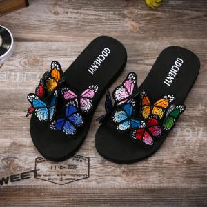 Women's Slippers Peep-Toe Comfy Casual Flat  Colorful Butterfly Decor Chic shoes -