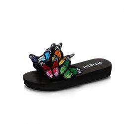 Женские тапочки Peep-Toe Comfy Casual Flat Colorful Butterfly Decor Chic shoes -