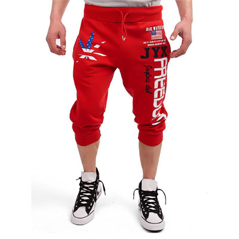 Store New Men's Cropped Pants Printed Design Casual Shorts
