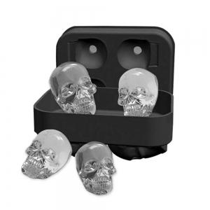 3D Skull Flexible Silicone Ice Cube Mold Tray, Makes Four Giant Iced Skulls, Easy Release Realistic Skull Ice Cube Make -