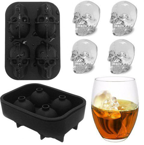 Shop 3D Skull Flexible Silicone Ice Cube Mold Tray, Makes Four Giant Iced Skulls, Easy Release Realistic Skull Ice Cube Make