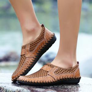 ZEACAVA Summer Men Breathable Mesh Leather Hollow Casual Shoes -