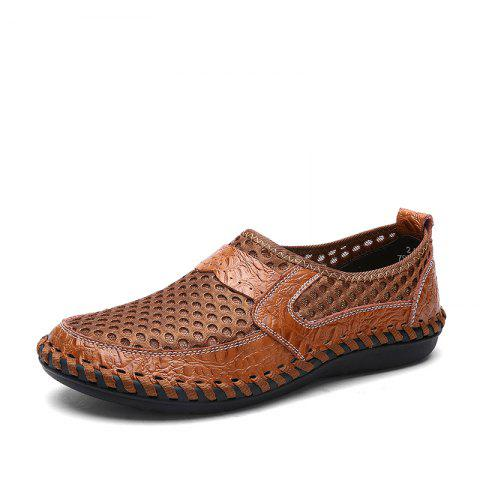 ZEACAVA Summer Men Breathable Mesh Leather Hollow Casual Shoes