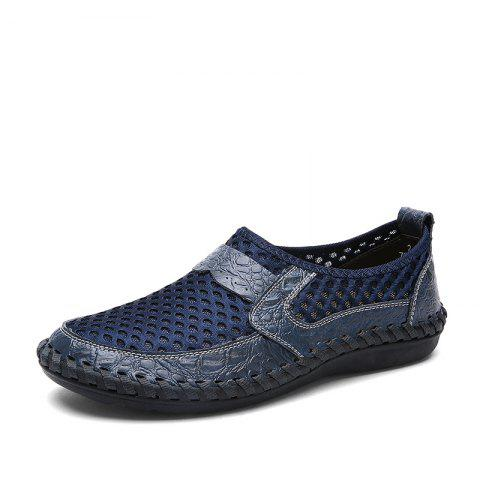 Fashion ZEACAVA Summer Men Breathable Mesh Leather Hollow Casual Shoes
