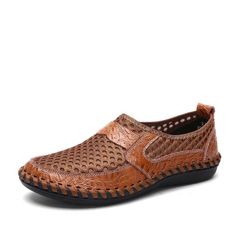 Hot ZEACAVA Summer Men Breathable Mesh Leather Hollow Casual Shoes
