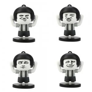 4 Faces Mushroom Head Key Chain Facial Expressions Decompression Toy for Kids -