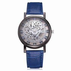 J001 Men Engraving Hollow Leather Band Quartz Dress Watch -