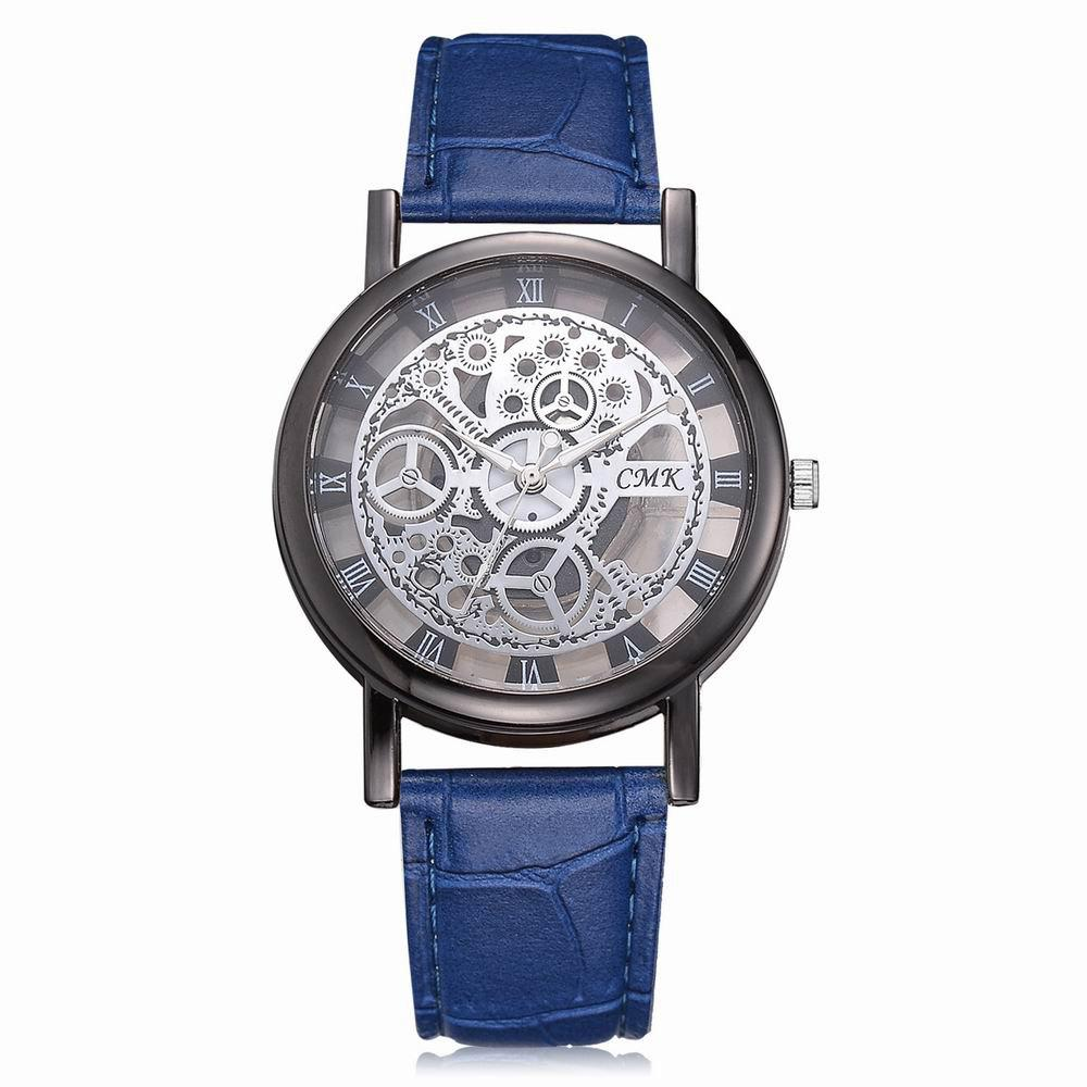 Outfit J001 Men Engraving Hollow Leather Band Quartz Dress Watch