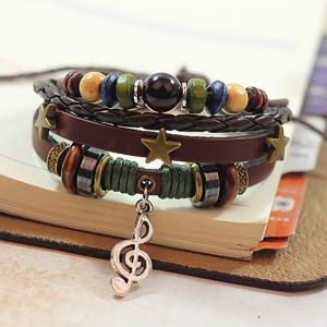 Fashion Musical Note Bracelet Three Stars Style Weaving -