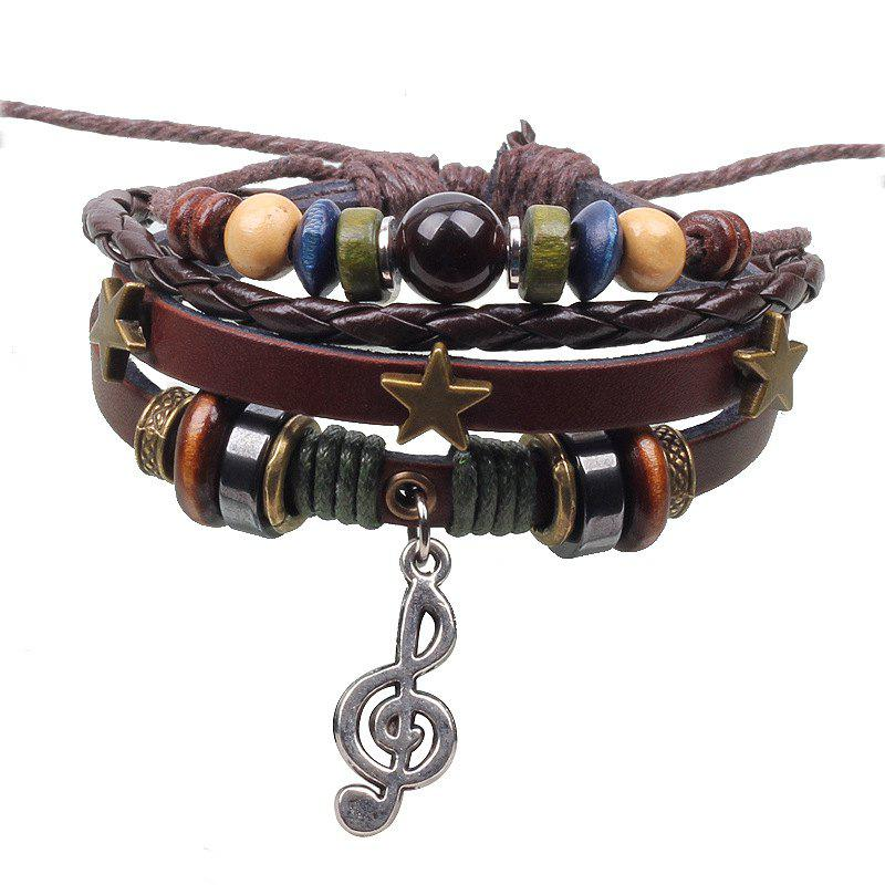 Outfits Fashion Musical Note Bracelet Three Stars Style Weaving