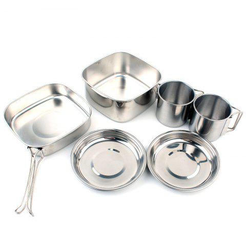 Online 6PC Camping Cookware Mess Kit Backpacking Camp Pot Bowls