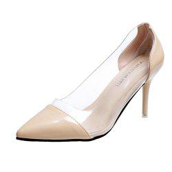 High Heels Pointy Head  Transparent Stitching  Women's Shoes -