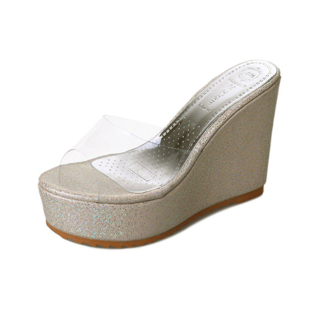 Affordable Thick Transparent Bottom Slope  Fish Mouth Heel Women's Shoes