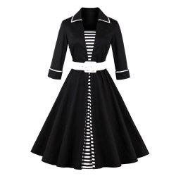 Plus Size Stripe Rejoindre Ensemble Vintage Dress -