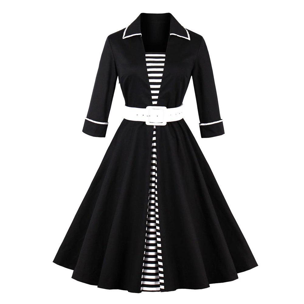 Plus Size Stripe Rejoindre Ensemble Vintage Dress