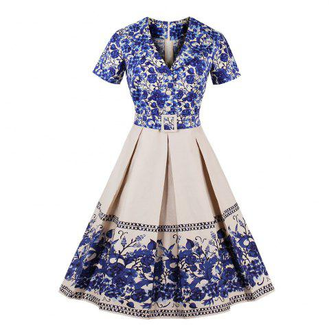Online Blue Print V-Neck With Short Sleeves Vintage Dress