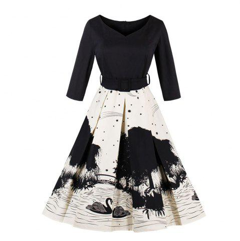 Swan Printing Rejoindre ensemble Vintage Dress
