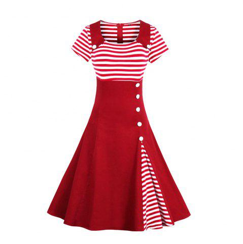 Best Stripe Joining Together Lapel Collect Waist Vintage Dress