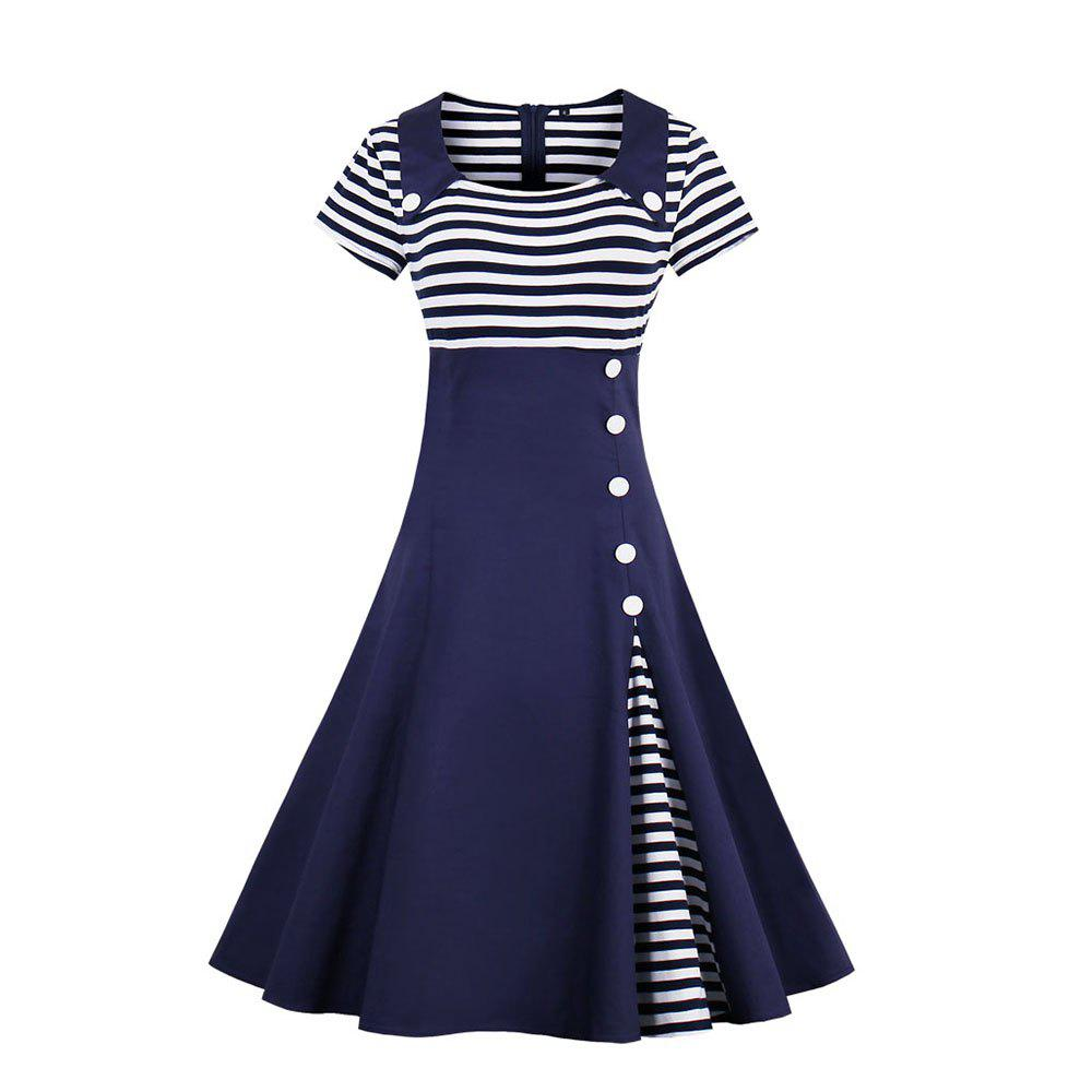 Outfits Stripe Joining Together Lapel Collect Waist Vintage Dress
