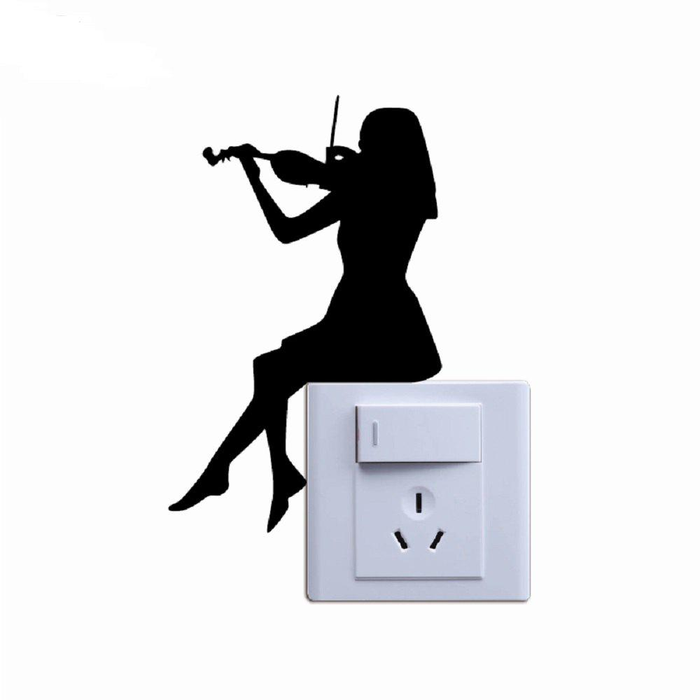Trendy Violin Switch Sticker Classical Music Wall Art Woman Playing Violin Switch Decal