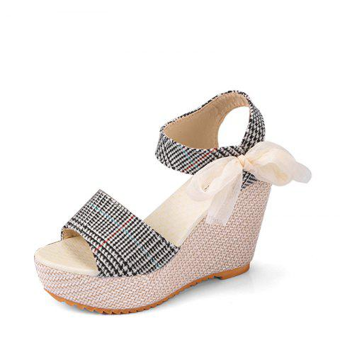 Summer Wedges Straw Sponge Thick Bottom Fish Mouth High-heeled Women Sandals discounts for sale outlet for nice cheap sale affordable pictures online outlet official vJAXUIoKw