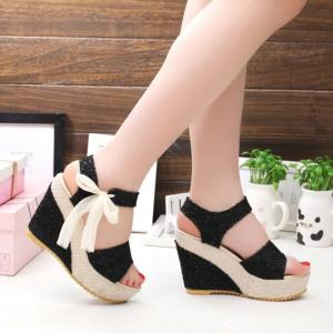 High Fabric Thick Fish Mouth High-heeled Platform Sandals -