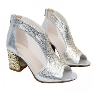Women Leather Rivets Zipper Fish Mouth Rough With Thick High Heeled Sandals Shoe -