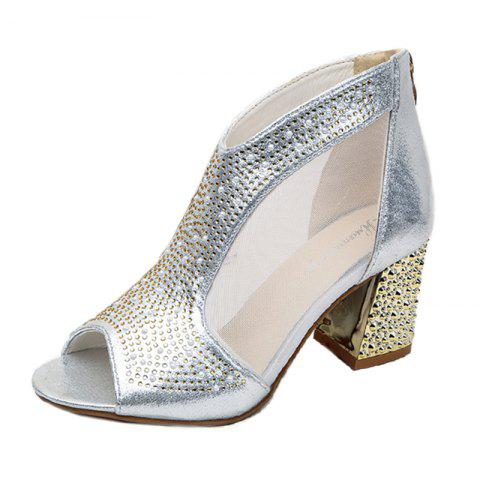 Fancy Women Leather Rivets Zipper Fish Mouth Rough With Thick High Heeled Sandals Shoe