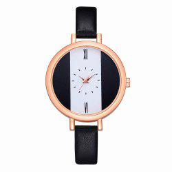 Fanteeda FD113 Women Unique Dial Leather Band Quartz Wrist Watch -